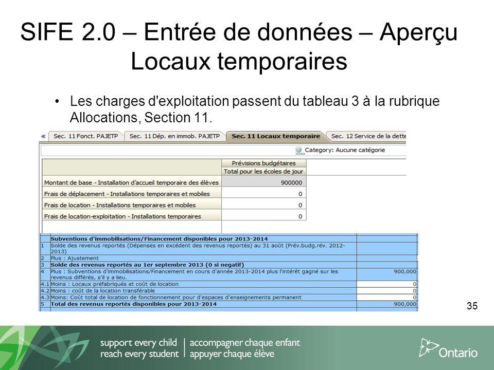SIFE 2.0 – Entrée de données – Aperçu Locaux temporaires Les charges d'exploitation passent du tableau 3 à la rubrique Allocations, Section 11. 35