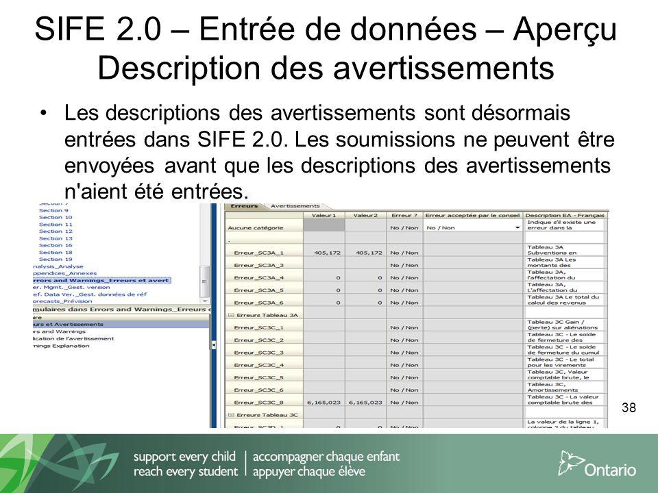 SIFE 2.0 – Entrée de données – Aperçu Description des avertissements Les descriptions des avertissements sont désormais entrées dans SIFE 2.0. Les sou