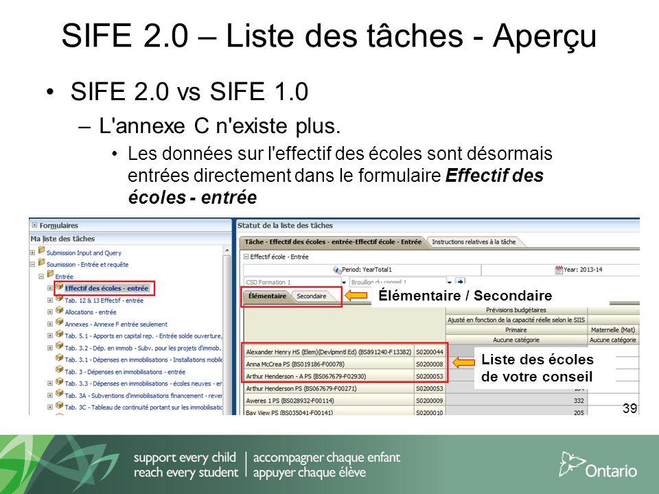 SIFE 2.0 – Liste des tâches - Aperçu SIFE 2.0 vs SIFE 1.0 –L'annexe C n'existe plus. Les données sur l'effectif des écoles sont désormais entrées dire