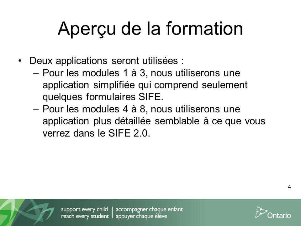 Aperçu de la formation Deux applications seront utilisées : –Pour les modules 1 à 3, nous utiliserons une application simplifiée qui comprend seulemen