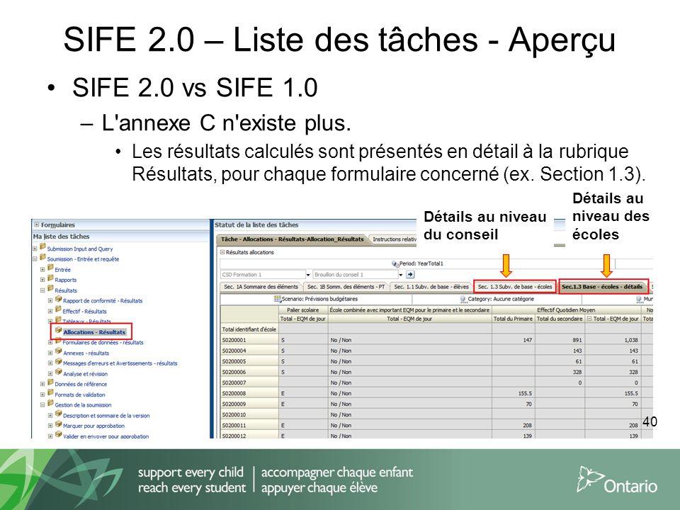 SIFE 2.0 – Liste des tâches - Aperçu SIFE 2.0 vs SIFE 1.0 –L'annexe C n'existe plus. Les résultats calculés sont présentés en détail à la rubrique Rés