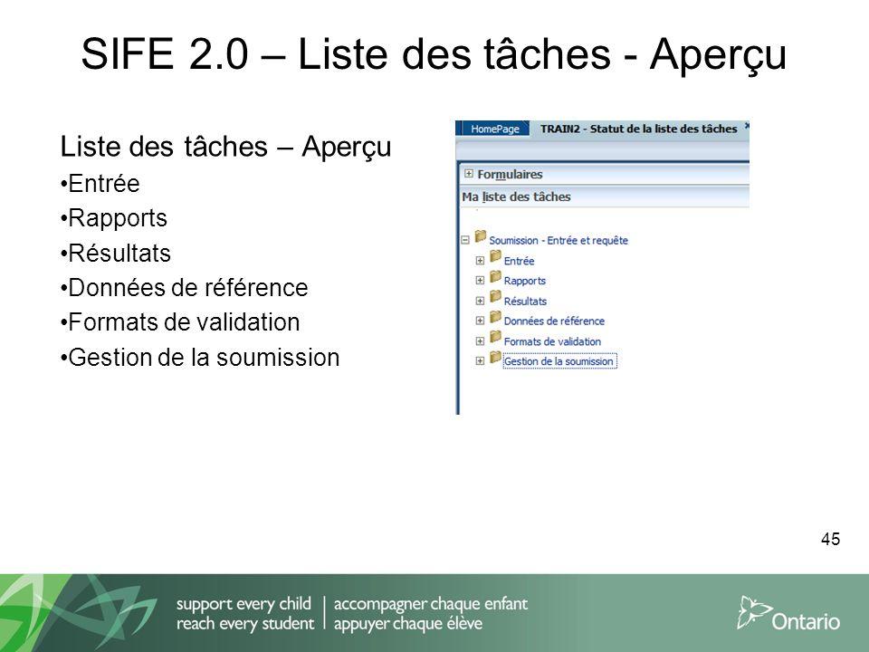 SIFE 2.0 – Liste des tâches - Aperçu Liste des tâches – Aperçu Entrée Rapports Résultats Données de référence Formats de validation Gestion de la soum