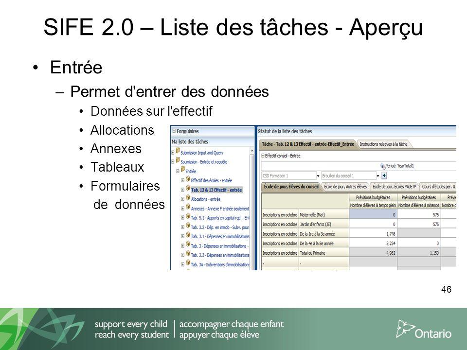 SIFE 2.0 – Liste des tâches - Aperçu Entrée –Permet d'entrer des données Données sur l'effectif Allocations Annexes Tableaux Formulaires de données 46