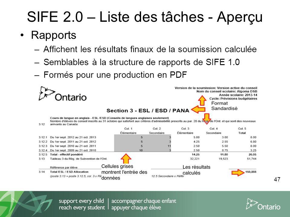 SIFE 2.0 – Liste des tâches - Aperçu Rapports –Affichent les résultats finaux de la soumission calculée –Semblables à la structure de rapports de SIFE
