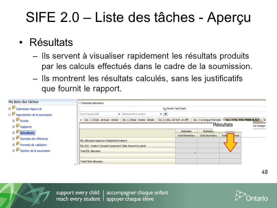 SIFE 2.0 – Liste des tâches - Aperçu Résultats –Ils servent à visualiser rapidement les résultats produits par les calculs effectués dans le cadre de
