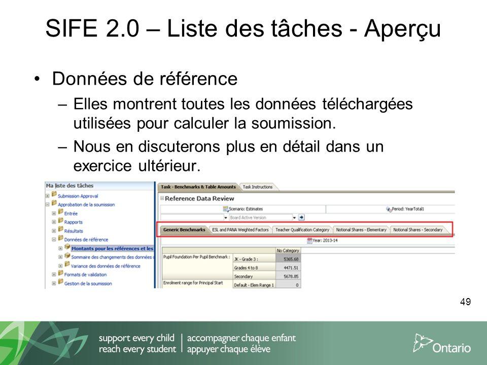 SIFE 2.0 – Liste des tâches - Aperçu Données de référence –Elles montrent toutes les données téléchargées utilisées pour calculer la soumission. –Nous