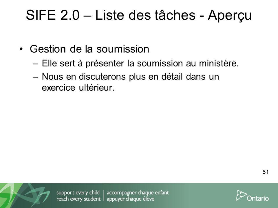 SIFE 2.0 – Liste des tâches - Aperçu Gestion de la soumission –Elle sert à présenter la soumission au ministère. –Nous en discuterons plus en détail d