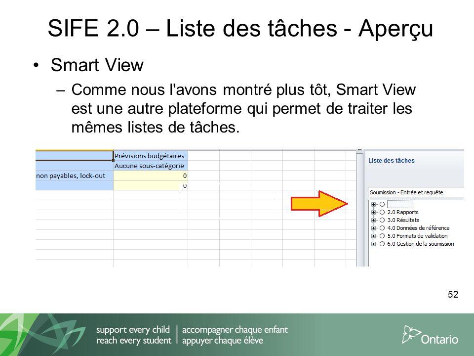 SIFE 2.0 – Liste des tâches - Aperçu Smart View –Comme nous l'avons montré plus tôt, Smart View est une autre plateforme qui permet de traiter les mêm