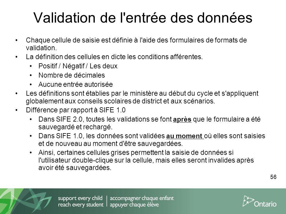 Validation de l'entrée des données Chaque cellule de saisie est définie à l'aide des formulaires de formats de validation. La définition des cellules
