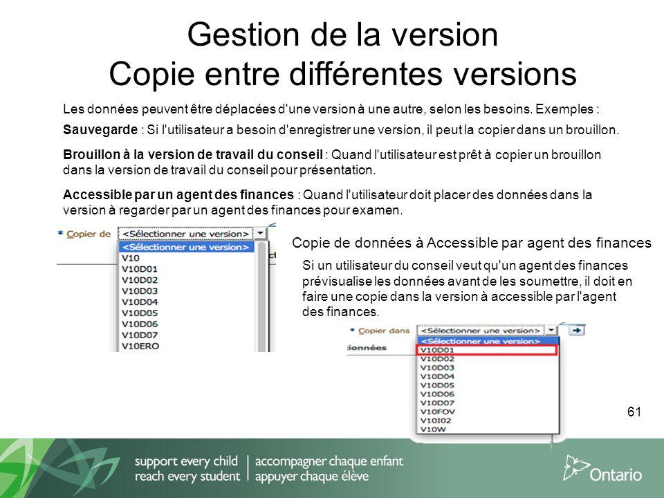 Les données peuvent être déplacées d'une version à une autre, selon les besoins. Exemples : Sauvegarde : Si l'utilisateur a besoin d'enregistrer une v
