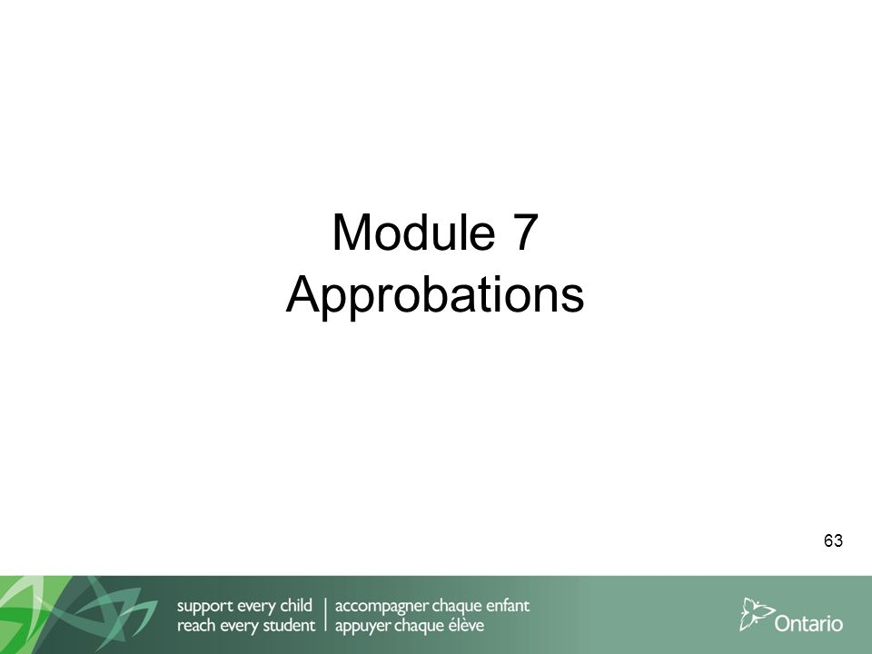 Module 7 Approbations 63