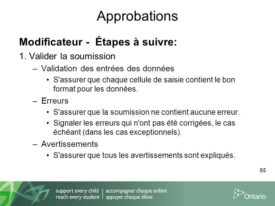 Approbations Modificateur - Étapes à suivre: 1. Valider la soumission –Validation des entrées des données S'assurer que chaque cellule de saisie conti