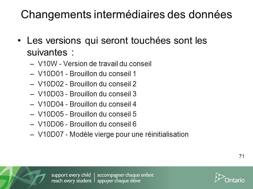 Changements intermédiaires des données Les versions qui seront touchées sont les suivantes : –V10W - Version de travail du conseil –V10D01 - Brouillon