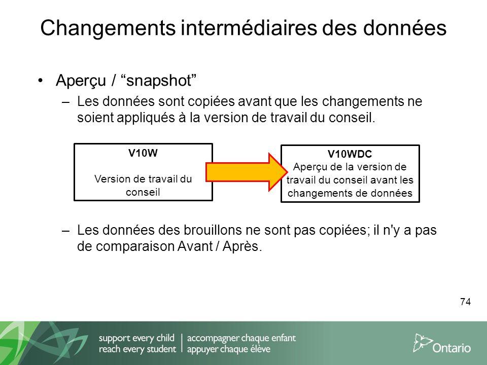 Changements intermédiaires des données Aperçu / snapshot –Les données sont copiées avant que les changements ne soient appliqués à la version de trava