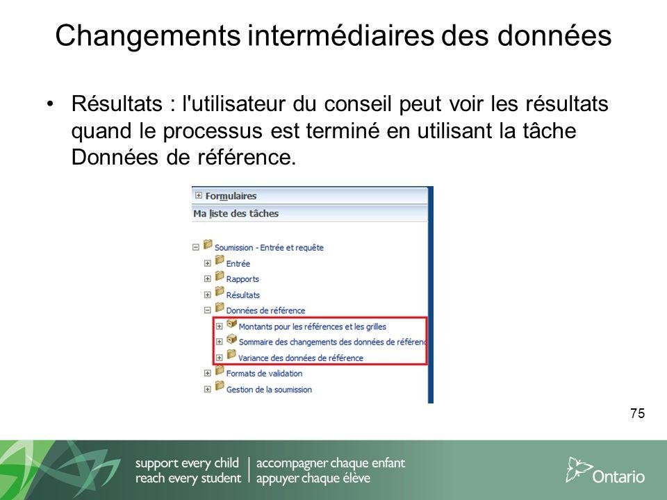 Changements intermédiaires des données Résultats : l'utilisateur du conseil peut voir les résultats quand le processus est terminé en utilisant la tâc
