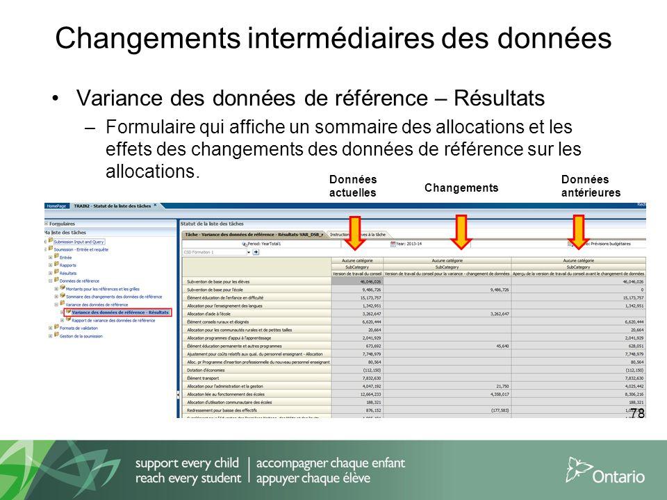 Changements intermédiaires des données Variance des données de référence – Résultats –Formulaire qui affiche un sommaire des allocations et les effets