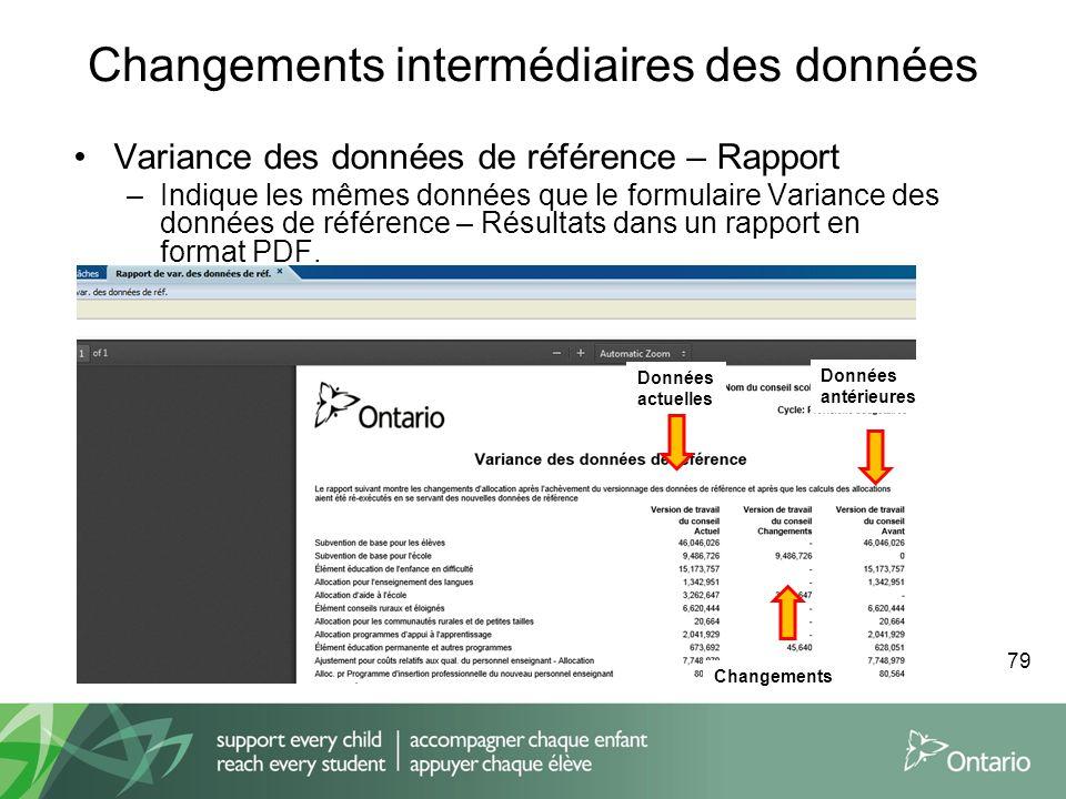 Changements intermédiaires des données Variance des données de référence – Rapport –Indique les mêmes données que le formulaire Variance des données d