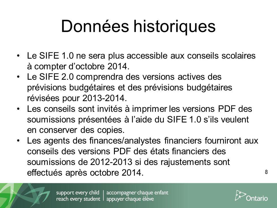 Données historiques Le SIFE 1.0 ne sera plus accessible aux conseils scolaires à compter doctobre 2014. Le SIFE 2.0 comprendra des versions actives de