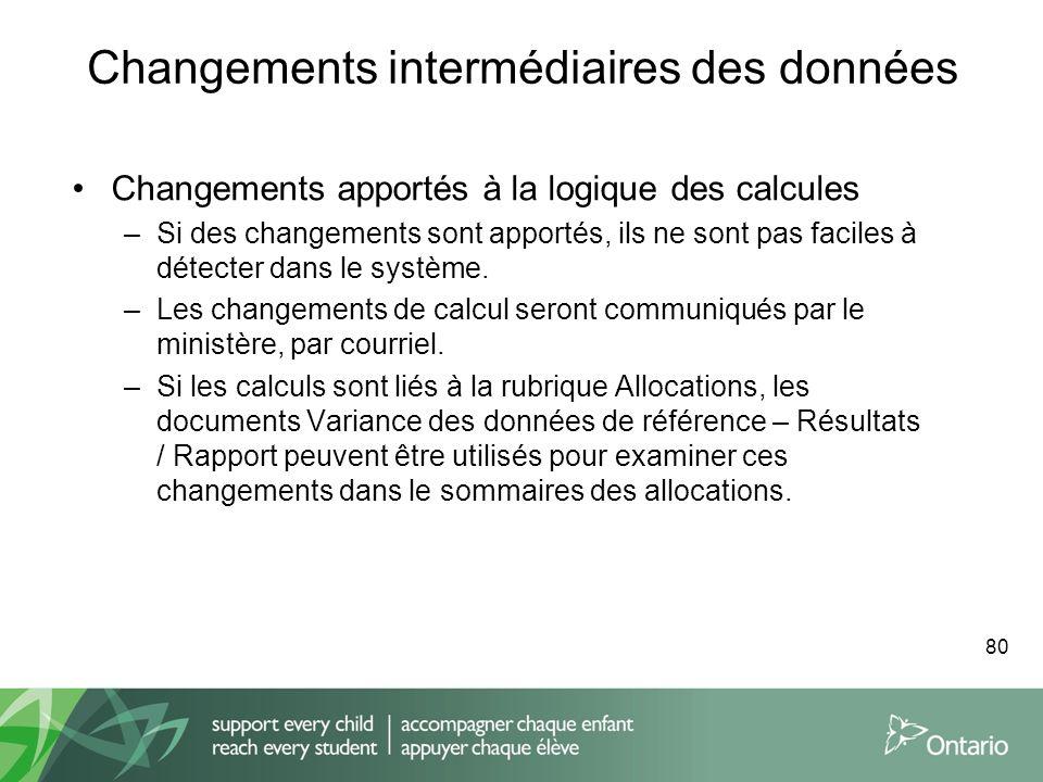 Changements intermédiaires des données Changements apportés à la logique des calcules –Si des changements sont apportés, ils ne sont pas faciles à dét