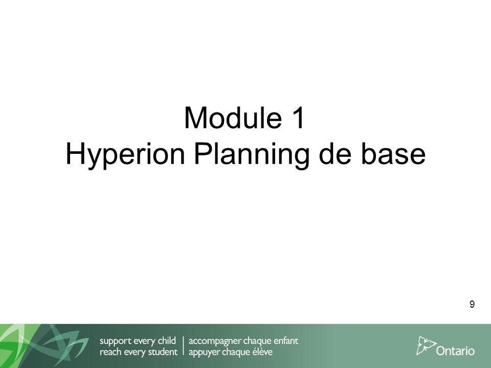 Module 1 Hyperion Planning de base 9