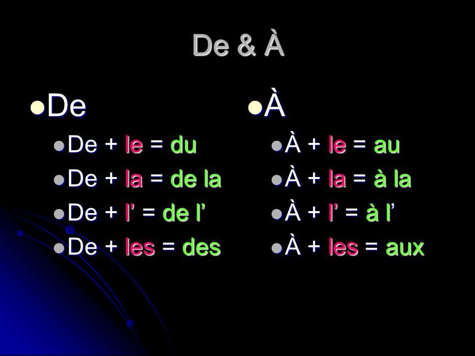 De & À De De + le = du De + la = de la De + l = de l De + les = des À À + l ll le = a aa au À + l ll la = à àà à la À + l ll l = à àà à l À + l ll les