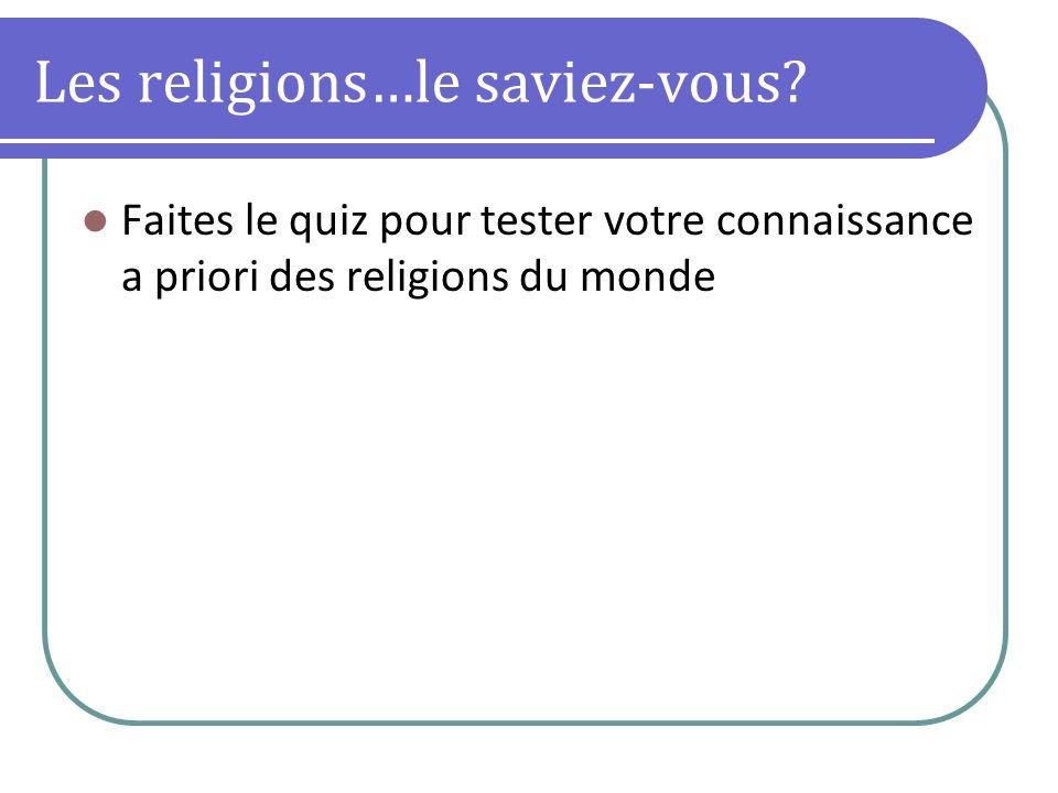 Les religions…le saviez-vous? Faites le quiz pour tester votre connaissance a priori des religions du monde
