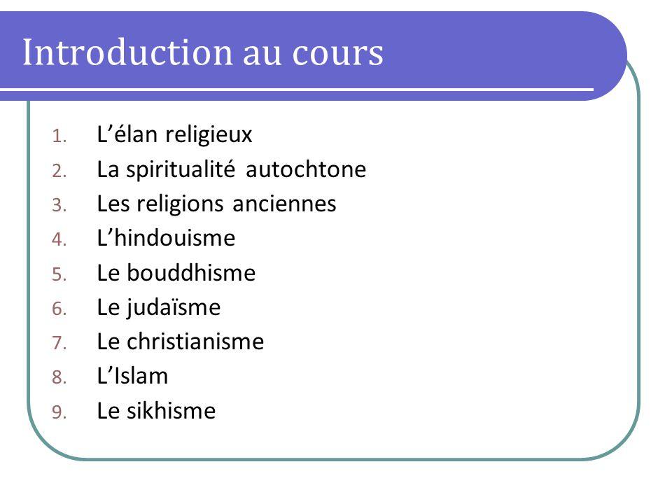Introduction au cours 1. Lélan religieux 2. La spiritualité autochtone 3. Les religions anciennes 4. Lhindouisme 5. Le bouddhisme 6. Le judaïsme 7. Le