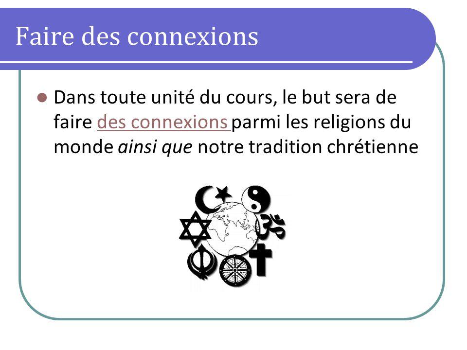 Faire des connexions Dans toute unité du cours, le but sera de faire des connexions parmi les religions du monde ainsi que notre tradition chrétiennedes connexions