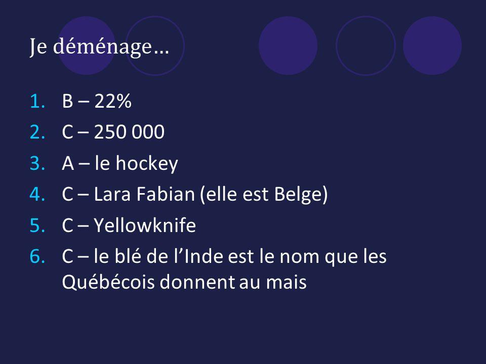 Je déménage… 1.B – 22% 2.C – 250 000 3.A – le hockey 4.C – Lara Fabian (elle est Belge) 5.C – Yellowknife 6.C – le blé de lInde est le nom que les Québécois donnent au mais