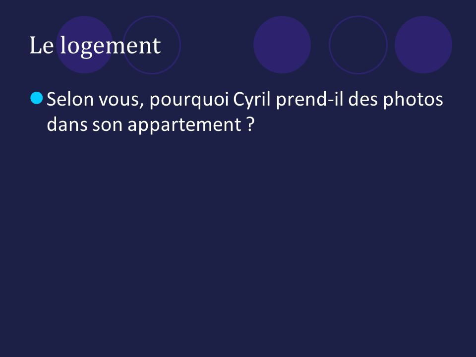 Le logement Selon vous, pourquoi Cyril prend-il des photos dans son appartement ?