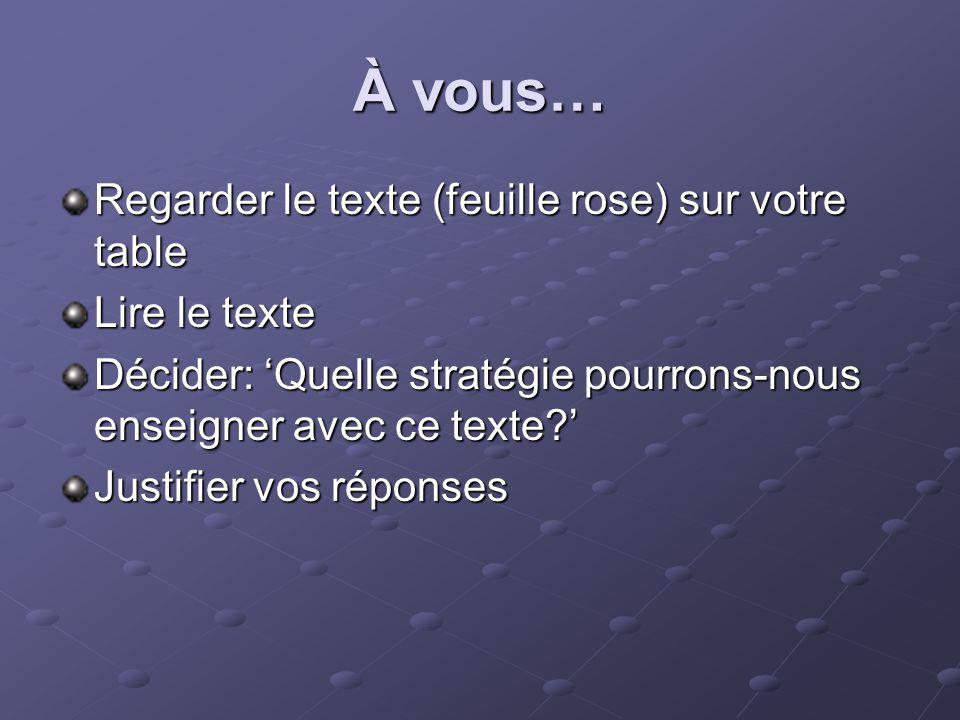 À vous… Regarder le texte (feuille rose) sur votre table Lire le texte Décider: Quelle stratégie pourrons-nous enseigner avec ce texte.