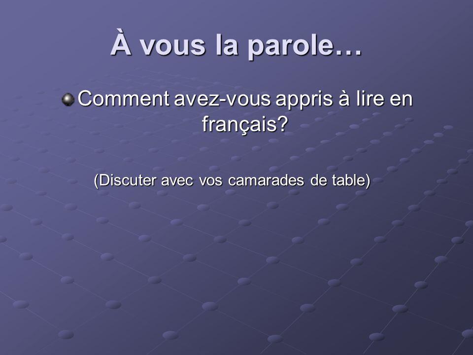 À vous la parole… Comment avez-vous appris à lire en français.