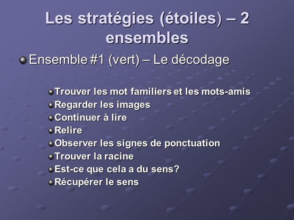 Les stratégies (étoiles) – 2 ensembles Ensemble #1 (vert) – Le décodage Trouver les mot familiers et les mots-amis Regarder les images Continuer à lire Relire Observer les signes de ponctuation Trouver la racine Est-ce que cela a du sens.
