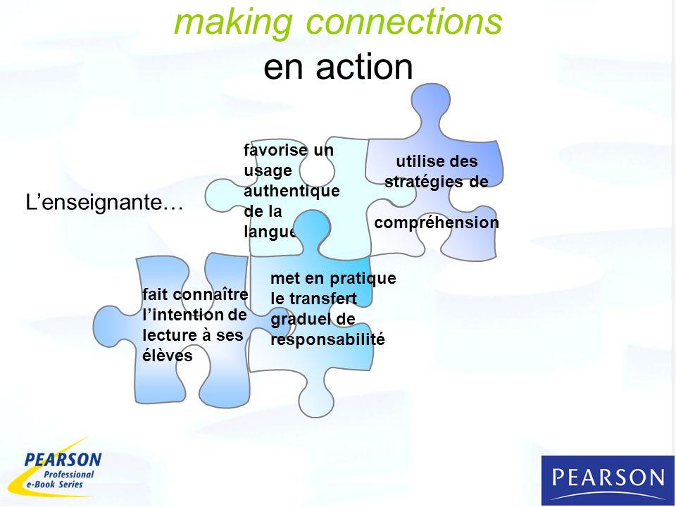 making connections en action favorise un usage authentique de la langue fait connaître lintention de lecture à ses élèves utilise des stratégies de compréhension met en pratique le transfert graduel de responsabilité Lenseignante…