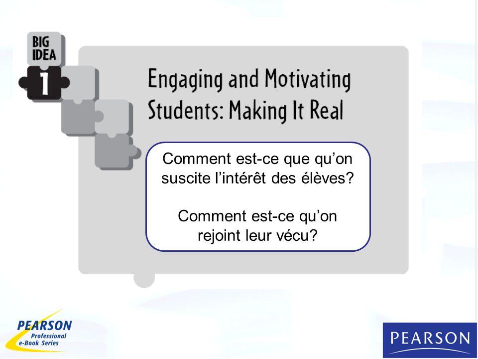 Comment est-ce que quon suscite lintérêt des élèves? Comment est-ce quon rejoint leur vécu?