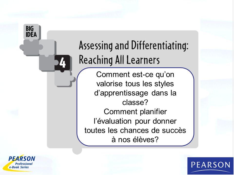 Comment est-ce quon valorise tous les styles dapprentissage dans la classe? Comment planifier lévaluation pour donner toutes les chances de succès à n