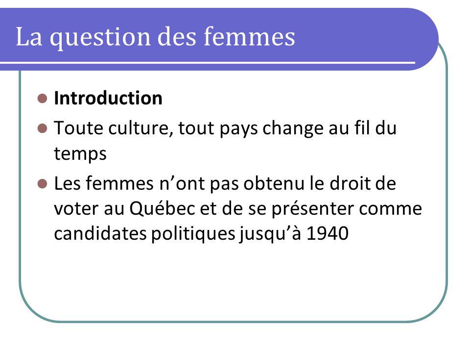 La question des femmes Introduction Toute culture, tout pays change au fil du temps Les femmes nont pas obtenu le droit de voter au Québec et de se présenter comme candidates politiques jusquà 1940