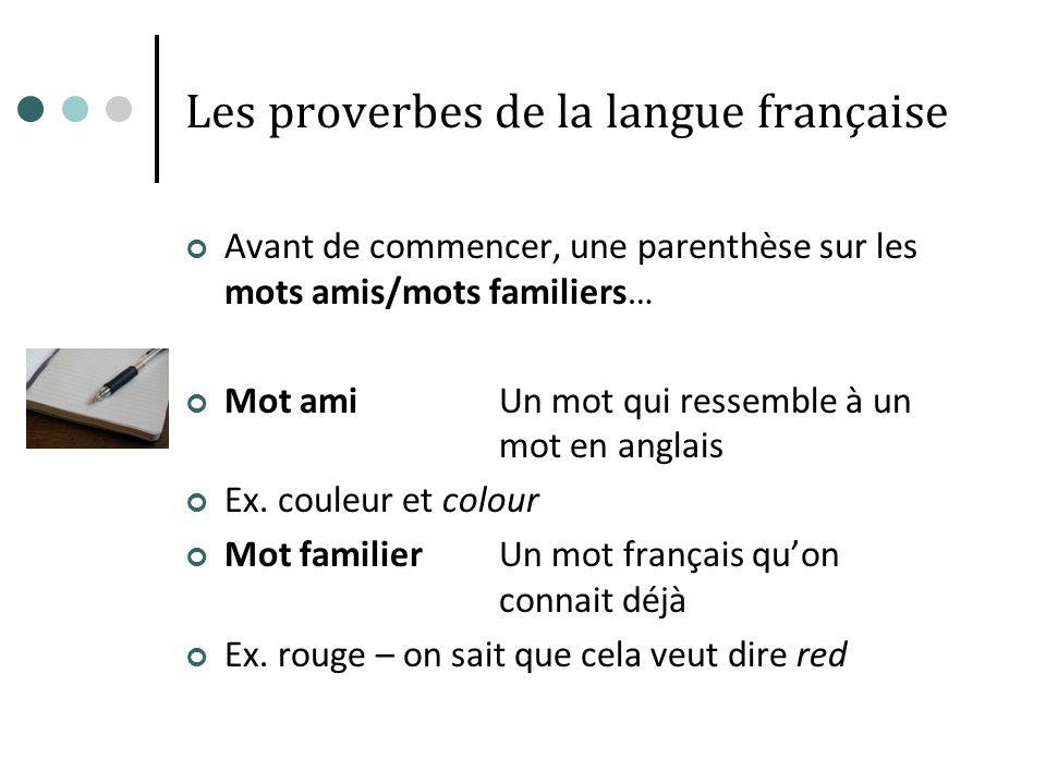 Les proverbes de la langue française Avant de commencer, une parenthèse sur les mots amis/mots familiers… Mot amiUn mot qui ressemble à un mot en angl