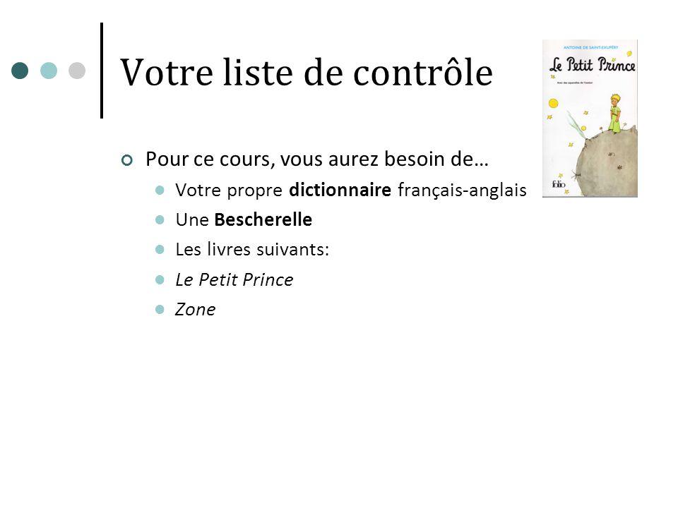 Votre liste de contrôle Pour ce cours, vous aurez besoin de… Votre propre dictionnaire français-anglais Une Bescherelle Les livres suivants: Le Petit