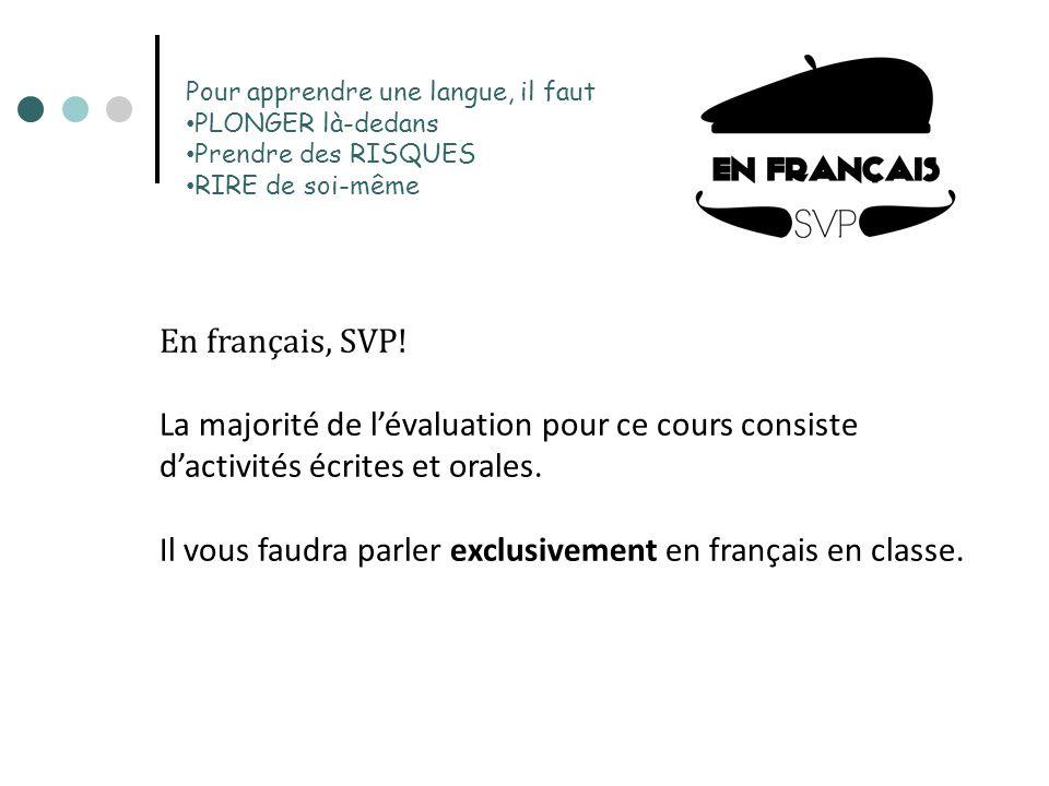 Pour apprendre une langue, il faut PLONGER là-dedans Prendre des RISQUES RIRE de soi-même En français, SVP! La majorité de lévaluation pour ce cours c