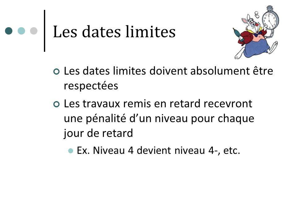 Les dates limites Les dates limites doivent absolument être respectées Les travaux remis en retard recevront une pénalité dun niveau pour chaque jour