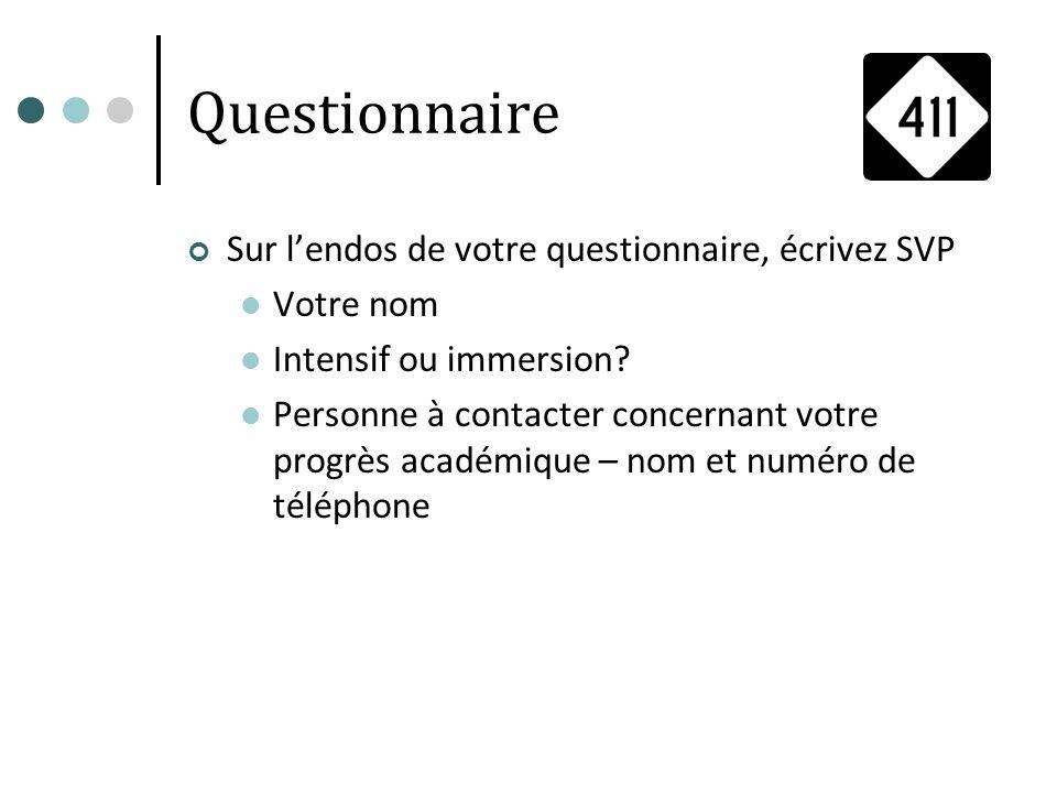 Questionnaire Sur lendos de votre questionnaire, écrivez SVP Votre nom Intensif ou immersion? Personne à contacter concernant votre progrès académique