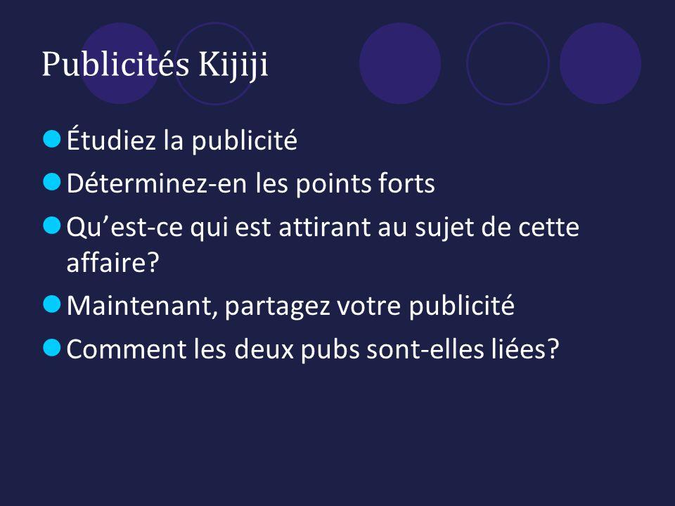 Publicités Kijiji Étudiez la publicité Déterminez-en les points forts Quest-ce qui est attirant au sujet de cette affaire.