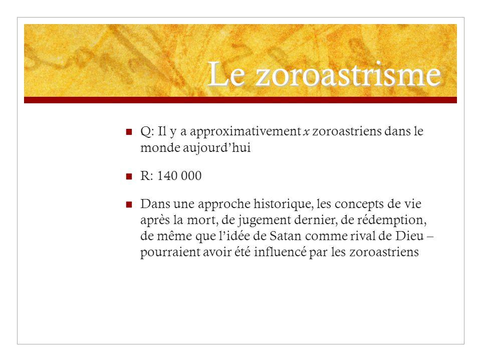 Le zoroastrisme Q: Il y a approximativement x zoroastriens dans le monde aujourdhui R: 140 000 Dans une approche historique, les concepts de vie après
