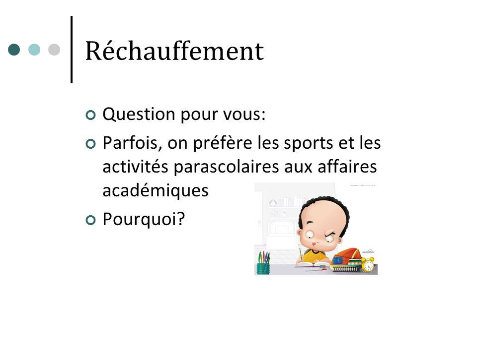 Réchauffement Question pour vous: Parfois, on préfère les sports et les activités parascolaires aux affaires académiques Pourquoi?