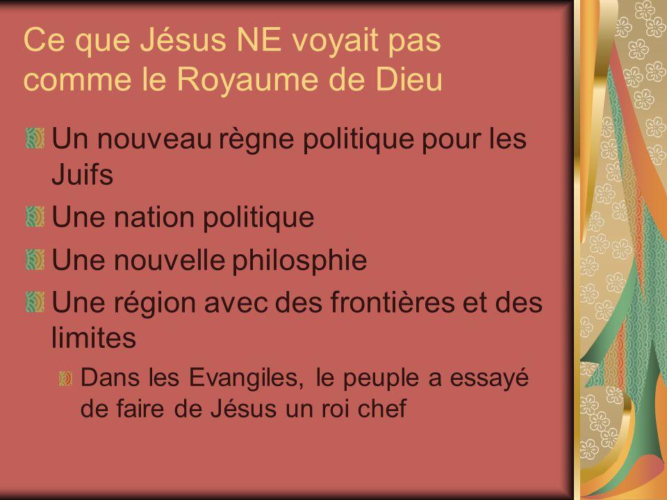 Ce que Jésus NE voyait pas comme le Royaume de Dieu Un nouveau règne politique pour les Juifs Une nation politique Une nouvelle philosphie Une région