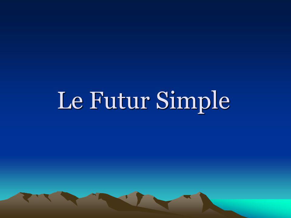 Emploie du Futur Simple Pour indiquer le futur dune action ___________________________________ Limparfait Le passé composé Le présent Le futur proche Le Futur Simple