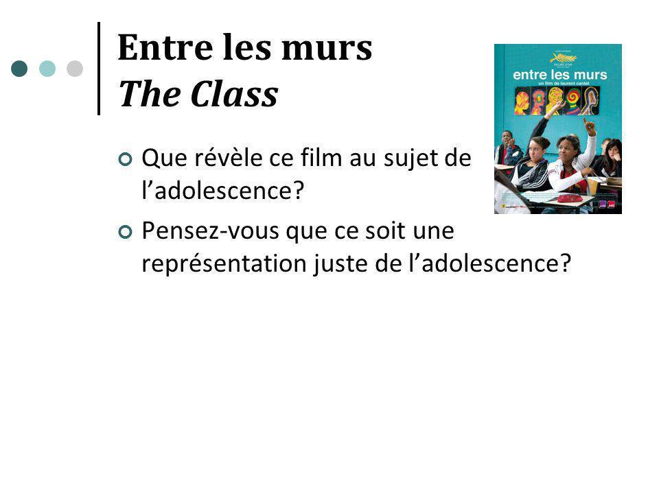 Entre les murs The Class Que révèle ce film au sujet de ladolescence? Pensez-vous que ce soit une représentation juste de ladolescence?