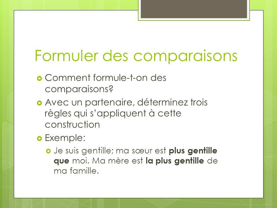 Formuler des comparaisons Comment formule-t-on des comparaisons? Avec un partenaire, déterminez trois règles qui sappliquent à cette construction Exem