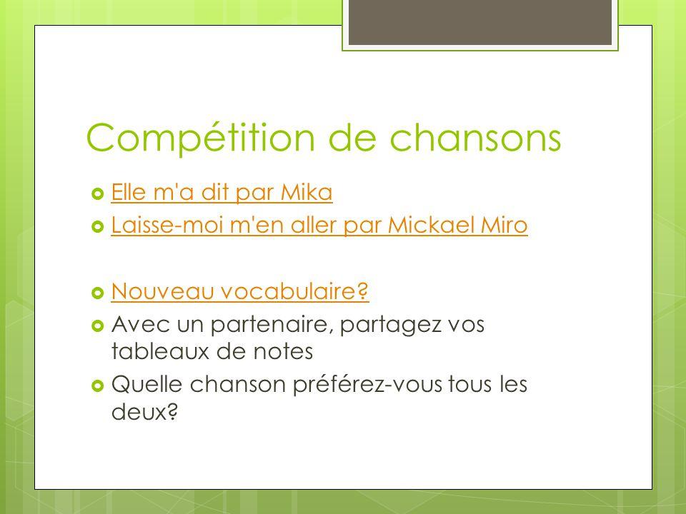Compétition de chansons Elle m'a dit par Mika Laisse-moi m'en aller par Mickael Miro Nouveau vocabulaire? Avec un partenaire, partagez vos tableaux de